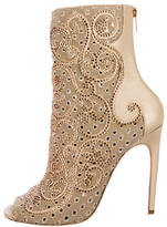 Rene Caovilla Embellished Peep-Toe Ankle Boots