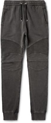 Balmain Slim-Fit Panelled Loopback Cotton-Blend Jersey Sweatpants