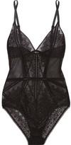 Calvin Klein Underwear Excite Stretch-tulle And Lace Bodysuit - Black