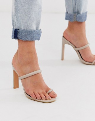 Miss Selfridge heeled sandals with toe post in beige-Pink