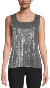 Kasper Sequined Square-Neck Camisole Top