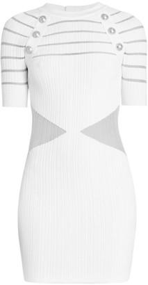 Balmain Transparent-Cutout Ribbed Mini Dress
