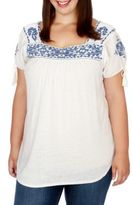 Lucky Brand Plus Floral Embroidered Top