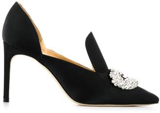 Giannico Satin Crystal Pumps