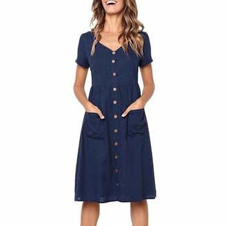 Toamen Women's Dress Toamen Women's Casual Dress Sale Clearance Ladies Short Sleeve V Neck Button Down Summer Beach Swing Dress Sundress with Pockets(Navy 12)