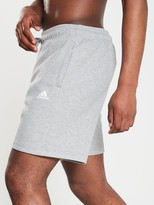 adidas Inside Leg 3 Stripe Shorts - Medium Grey Heather