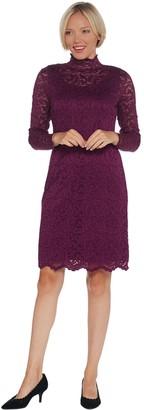 Isaac Mizrahi Live! Petite Lace Mock Neck Knit Dress