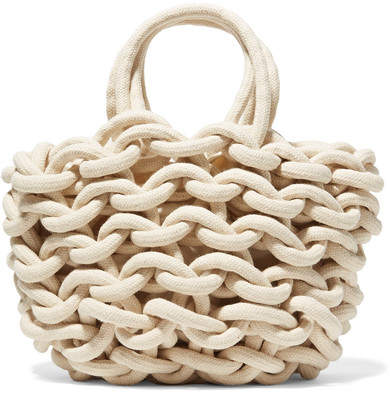 Alienina Woven Cotton Bucket Bag - White