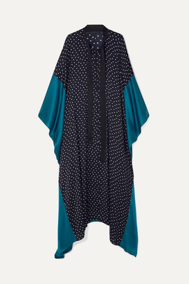 Haider Ackermann Silk Satin-paneled Polka-dot Crepe De Chine Kaftan - Black
