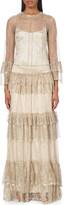 Alberta Ferretti Ruffled lace gown