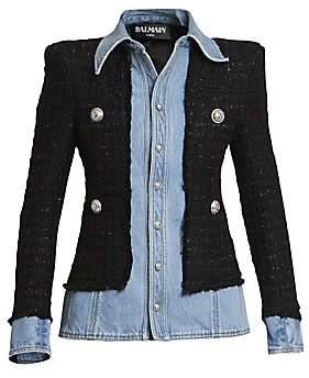 Balmain Women's Layered Denim Wool-Blend Tweed Jacket