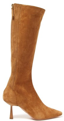 Aquazzura Curzon 75 Suede Knee-high Boots - Womens - Tan