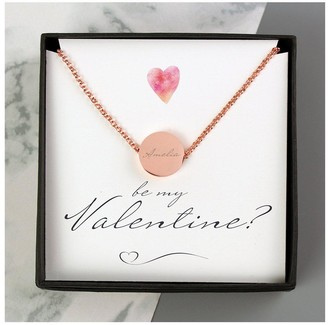 Personalised Be My Valentine Sentiment Box and Disc Necklace