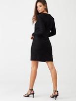 Warehouse Croc Textured Dress - Black