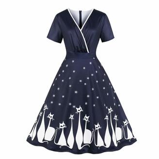 KaloryWee Autumn Winter 2018 Dress Women Large Size Vintage Cat Printing Sleeve Evening Party Prom Swing Dress 4XL Navy