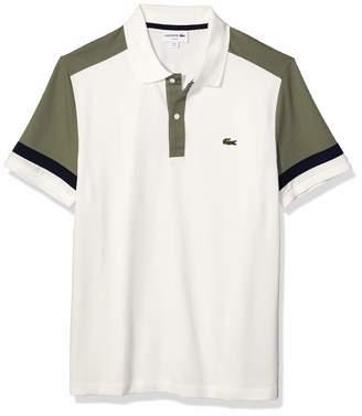 Lacoste Men's Short Sleeve Pima Stretch Pique Color-Block Slim Fit Polo