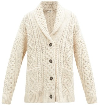 Etoile Isabel Marant Regan Shawl-collar Cable-knit Wool Cardigan - Ivory