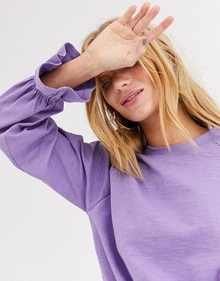 Monki jersey top with balloon sleeves in lilac-Purple