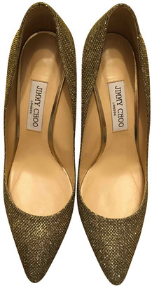 Jimmy Choo Romy Gold Leather Heels