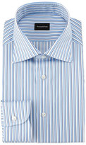 Ermenegildo Zegna Shadow-Stripe Woven Dress Shirt, White/Blue