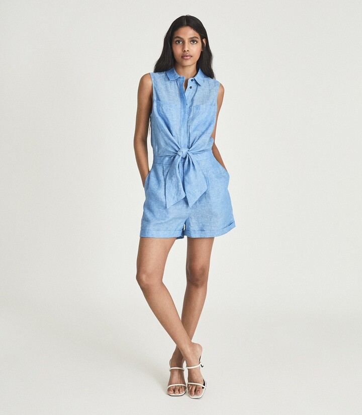 Thumbnail for your product : Reiss Ema - Linen Playsuit in Blue