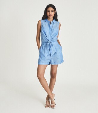 Reiss Ema - Linen Playsuit in Blue