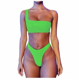 Kalorywee Swimwear Women Swimwear Sexy Leather Bikini Set Fashion One-Shoulder Tube Top High Waisted Y Bikinis Bottom KaloryWee Green