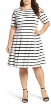 Gabby Skye Plus Size Women's Cold Shoulder Fit & Flare Dress
