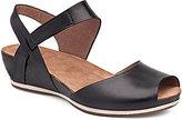 Dansko Vera Burnished Leather Banded Ankle Strap Low Wedge Sandals