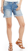 Miss Me Cross Embroidered Woven Stretch Denim Shorts