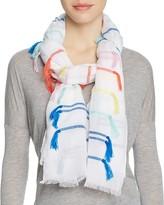 Rebecca Minkoff Rainbow Tassel Stripe Oblong Scarf