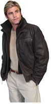 Scully Men's Leather Jacket w/ Knit Front & Collar 400