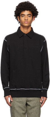 Aimé Leon Dore Black Cross-Stitch Rugby Long Sleeve Polo