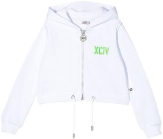 GCDS Kids Hooded Crop Sweatshirt