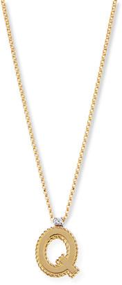 Roberto Coin Princess 18K Yellow Gold Diamond Initial Necklace, Q