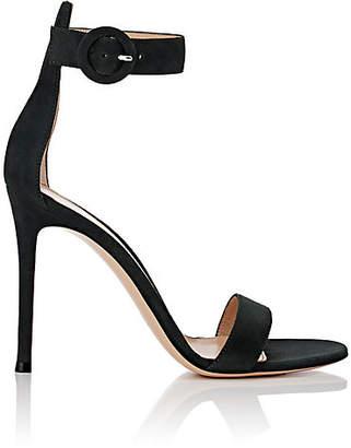 Gianvito Rossi Women's Portofino Suede Ankle-Strap Sandals - Forest