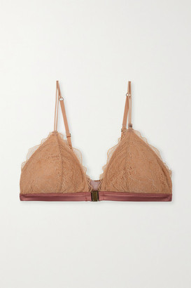 LOVE Stories Hazel Satin-trimmed Stretch-lace And Stretch-jersey Soft-cup Triangle Bra - Tan