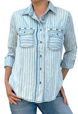 BILLY T Daydreaming Striped Shirt