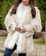 Off-White Donna Salyers' Fabulous Faux Furs Donna Salyers' Fabulous-Faux Furs Women's Car Coats Arctic Arctic Fox Shawl-Collar Faux Fur Coat - Women & Plus