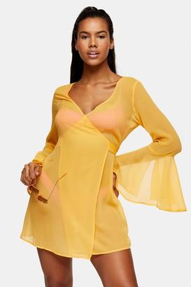 Topshop Orange Wrap Chiffon Mini Beach Dress