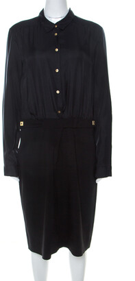 Diane von Furstenberg Black Silk & Wool Full Sleeve Retro Dinna Dress L