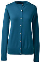 Lands' End Women's Petite Classic Supima Cardigan Sweater-Intense Teal