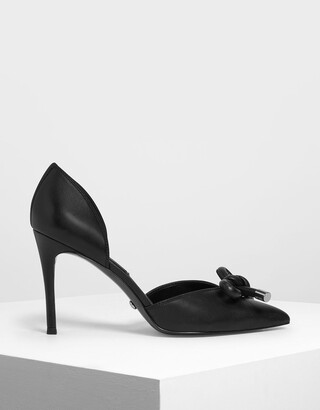 Charles & Keith Bow Detail Leather D'Orsay Pumps
