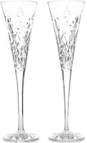 Waterford Wishes Happy Celebrations Block Letter Monogram Toasting Flutes, Set Of 2