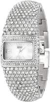 Badgley Mischka Women's BA/1155MPSV Swarovski Crystal-Covered Silver-Tone Bangle Watch