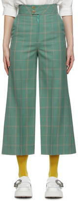 Gucci Green Windowpane Flared Trousers