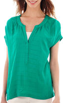 JCPenney A.N.A a.n.a Short-Sleeve Pleat-Neck Blouse