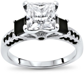 Overstock 14k White Gold 1.50ct Princess Cut Moissanite and 3/4ct 3 Stone Black Diamond Engagement Ring