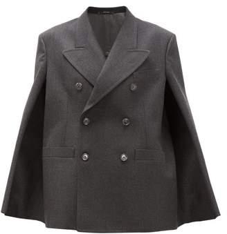 Maison Margiela Double-breasted Wool Cape Jacket - Womens - Dark Grey