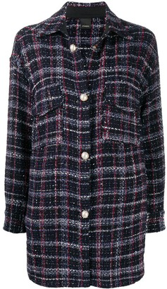Pinko Tartan Pattern Single-Breasted Coat